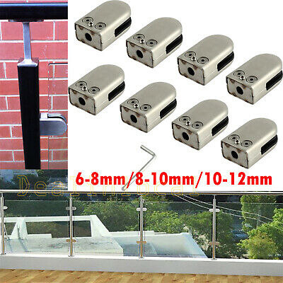 8Pcs Stainless Steel 304 Glass Clamp 6-12mm Clip Flat Back Bracket For Handrail
