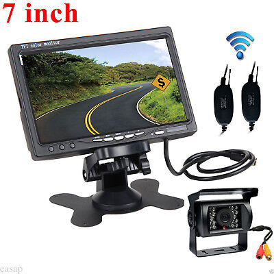 """7"""" Monitor+Wireless Rear View Backup Camera 18 LED Night Vision For RV Truck Bus"""