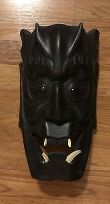 19th Century Japanese Noh Hannya Mask, Wood with Whalebone Fangs