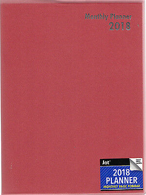 "2018 Large MONTHLY PLANNER Lined Calendar 10X7.5"" Executive CONTACTS RED THIN"