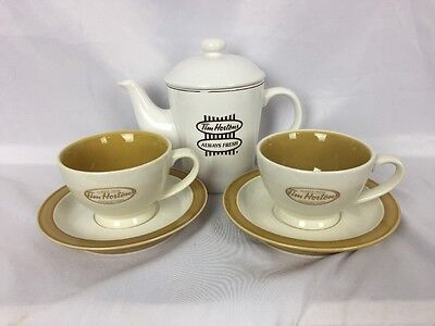 Tim Hortons Mug Tea Time Lot ~ 2 Cups and Saucers plus Teapot - Mint in Box