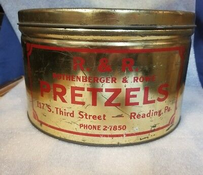 Rare Rothenberger & Rowe pretzel tin can Reading Pa