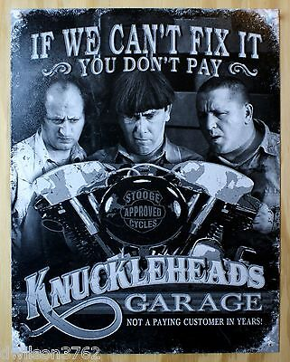 Knucklehead 3 Stooges Garage Motorcycle Bike Funny Shop  Picture Metal  Tin Sign