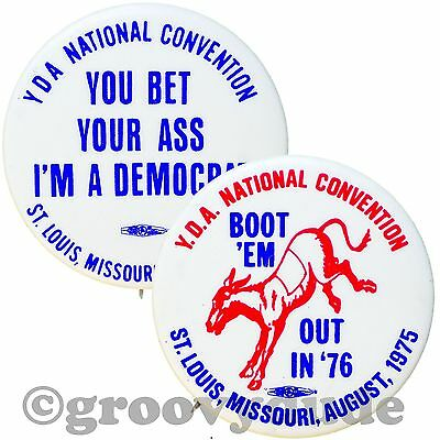 YDA National Convention Democratic Boot 'Em Out MO 1976 Pin Pinback Button Lot