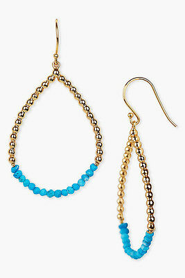 Argento Vivo 18K Gold Plated over Sterling Silver Turquoise Teardrop Earrings