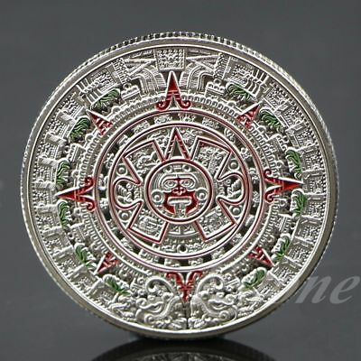 Silver Plated Mayan Aztec Prophecy Calendar Commemorative Collection Coin Gift