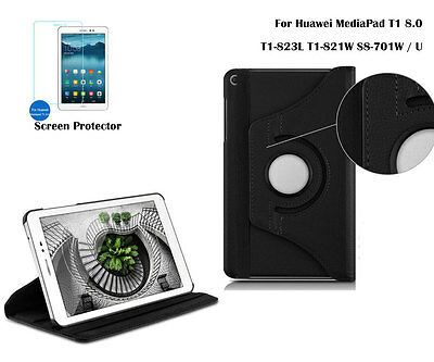 Screen Film/360°Rotate PU Leather cover case for Huawei MediaPad T1 T3
