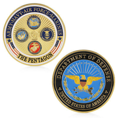 Gold Plated Army Navy Air Force Marines The Pentagon Physical Commemorative Coin