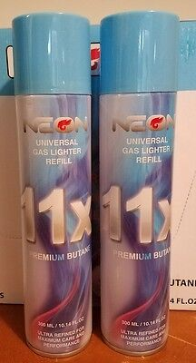 2 Neon 11X Lighter Butane Can -300ml- Universal Gas Lighter Refill Ultra Refined