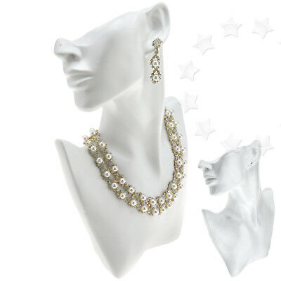 White Chain Jewelry Pendant Earring Shop Display Bust Stand Fashion Accessories