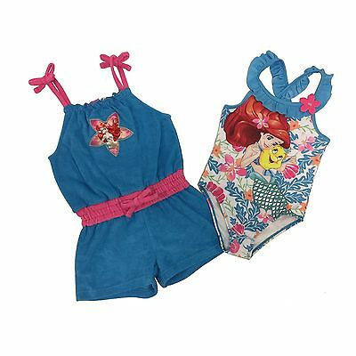 Disney NWT 3T 4T 6X Little Mermaid Ariel Swim Suit One piece & Cover Up Set
