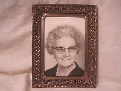 ornate floral detail vintage picture photograph frame metal scroll  w/ old photo