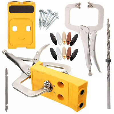Pocket Hole Drill Jig Slant Hole Jig Guide Kit Woodworking Joint Carpentry Tool