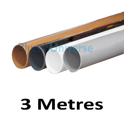 110mm 3 Metre Soil Pipe Black, White, Grey and Brown Underground Toilet Drainage
