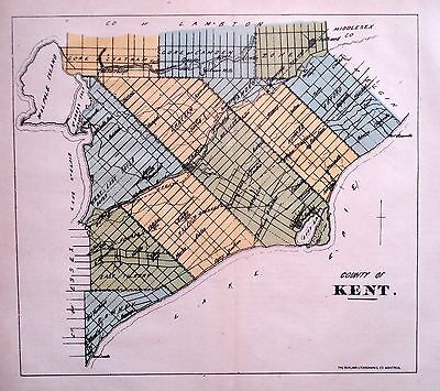 Kent County Ontario Canada Rare 1881 orig map Ont Agricultural Commission
