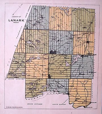 Lanark County Ontario Canada Rare 1881 orig map Ont Agricultural Commission