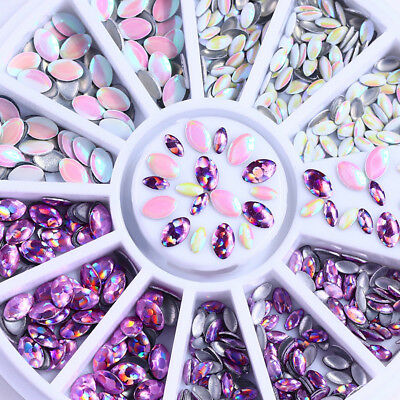 Multi-size  Holographic  Nail Rhinestones 3D Nail Art Decoration in Wheel