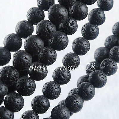 Black Volcano Round 8mm Loose Beads 15.5 Inches Strand For Making Jewelry MG2207