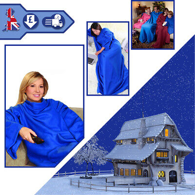 Super Soft Sleeved Snuggie Fleece Blanket Pockets Snuggle Wrap Blue Red & Black