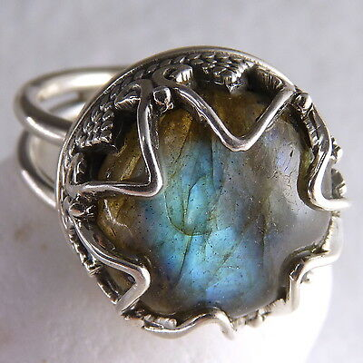 GRANULATION CROWN Size US 6 (M) SILVERSARI Ring Solid 925 Stg Silver/LABRADORITE