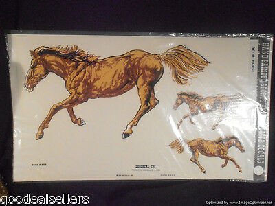 Decorcal W-10 - 3 Horses - Hand Painted Sports and Wildlife Decals 1981