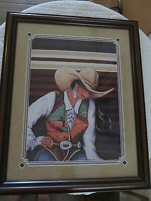 Doreman Burns South By Southwest Signed Framed Print Western Cowgirl Print