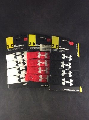 "Under Armour 1"" Performance Wristband 1235106 (2 Pair) New in Pkg Pick Color"