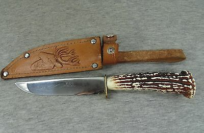 VINTAGE GERMANY FES ROSTFREI HUNTING KNIFE with ORNATE HANDLE & LEATHER SHEATH