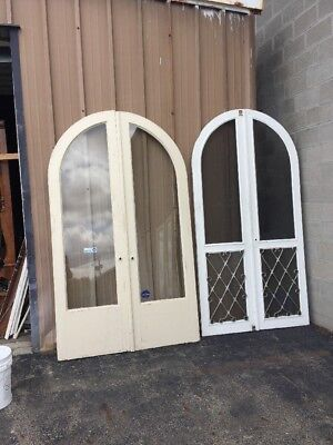 Pg 10 Match Pair Antique Arch Top Double Door Entry 54.75 By 92 With Screendoors
