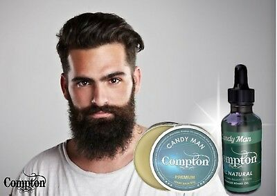 Compton Premium Beard Balm & Oil Set (Candy Man) 50 G All Natural Melbourne Made