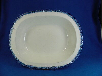 1804-29 Signed Adams Blue Shell Feather Edge  Creamware Serving Bowl 1804-1829