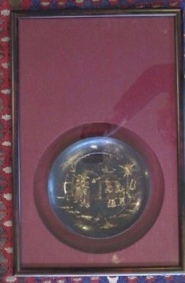 Antique Framed FINELY Detailed Chinese MING Dynasty Lacquer & GOLD Gilt Plate