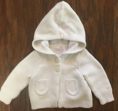 Hanna Andersson NB Newborn White Hooded Cardigan Sweater Girl Boy Organic Cotton
