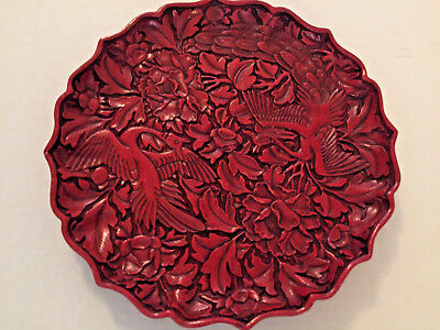 Exceptional Chinese Cinnabar Lacquer Plate w. Carvings of  Pr. Peacocks