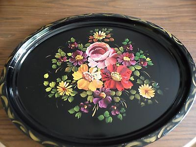 """Vintage Hand Painted Tole Metal Tray~Floral Decorated~24"""" x 19"""""""