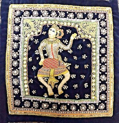Kalaga Burma Myanmar Ethnic 3D Embroidery Sequin Tapestry DANCING WOMAN /Vintage
