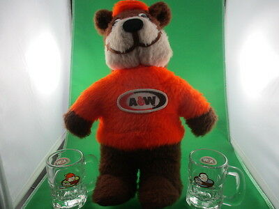 A&w Plushed Teddy Bear With Two Mini Mugs