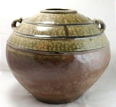 Extra Large Beautiful Antique Chinese Eastern Han Spherical Green Glazed Pot