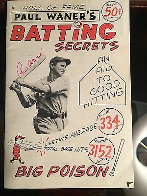 PAUL WANER twice-signed  Batting Secrets booklet Pittsburgh Pirates BIG POISON