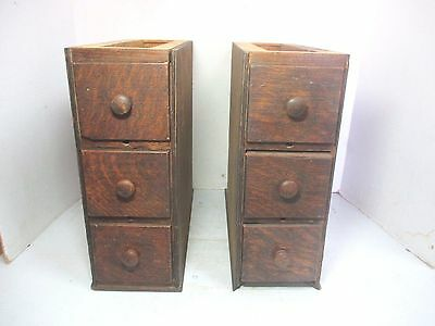 2 Sets of 3 Vintage Singer Sewing Machine Wooden Undercounter Drawers With Frame