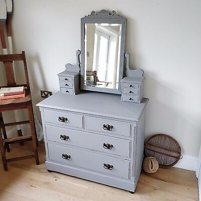 Edwardian dressing table. Chest of drawers, painted dressing table. Bedroom
