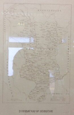 Edwardian Ink Domesday Map Of Derbyshire