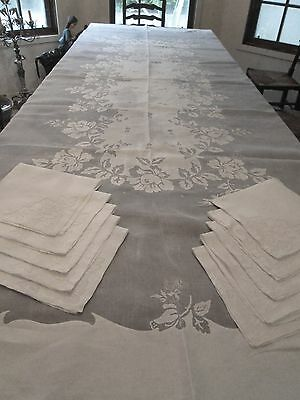 "ANTIQUE/VINTAGE MADEIRA ORGANDY/LINEN BANQUET TABLECLOTH..10 NAPKINS .120 ""x 70"""