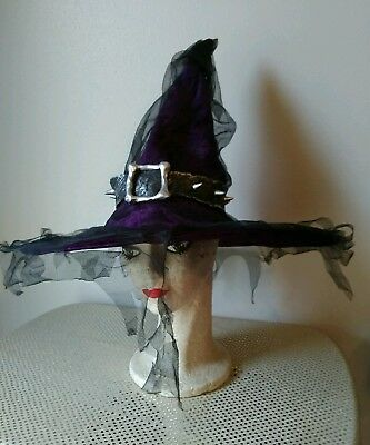 Purple & Black Witch Hat Halloween Costume Accessory Adult Velour