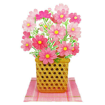 Flowers in Basket - Cosmos - Pop Up Greeting Card