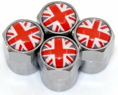 x4 UNION JACK Dust Caps Logo UK 3D Metal Chrome Valve Covers MINI Rover MGF Jag