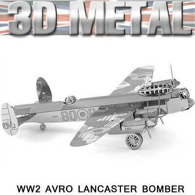 3D Metal Avro Lancaster Bomber WW2 Aircraft Miniature Model Puzzle Gift For Dad