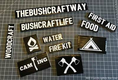 11 Bushcraft White Vinyl Decals Stickers Survival Kits Car Window Water Bottles