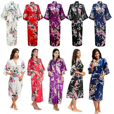 Women Silk Long Floral Kimono Robe Bride Bridesmaid Wedding Dressing Gown Party