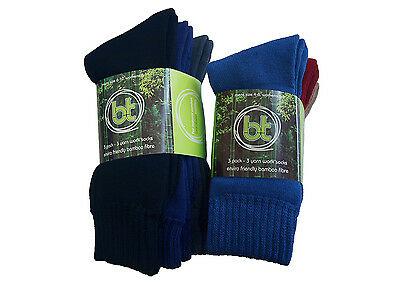 3 Pack 92% BAMBOO THICK WORK SOCKS - 3 Yarn by BAMBOO TEXTILES anti bacterial